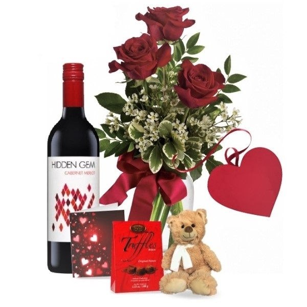 3 Red Roses and Red Wine Combo