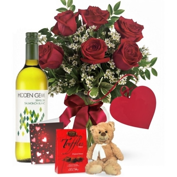 6 Red Roses and White Wine Combo