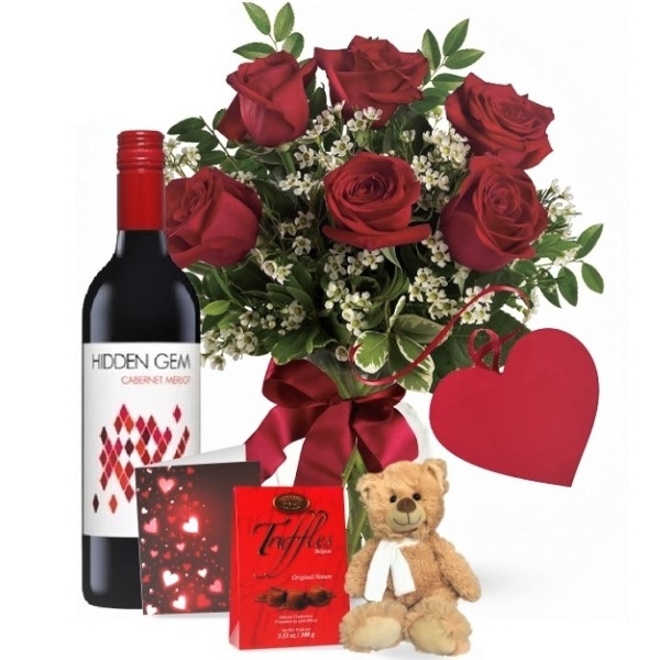 6 Red Roses and Red Wine Combo