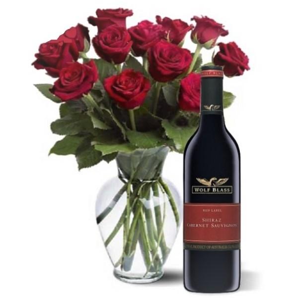 Dozen Red Roses & Shiraz