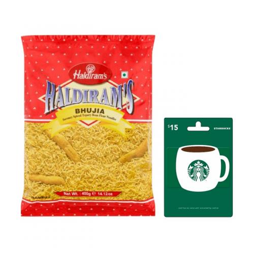 $15Starbucks + 400gmHaldiramBhujia