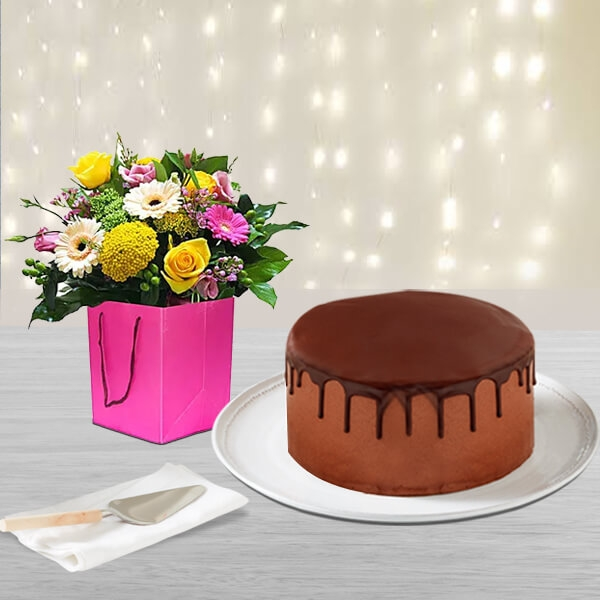 Chocolate cake and Colourful flowers