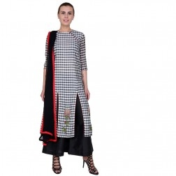 Chanderi Check Suit with Palazzos