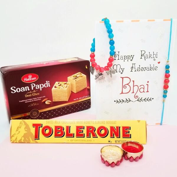 Charming Bhaiya Bhabhi Rakhi with Sweets