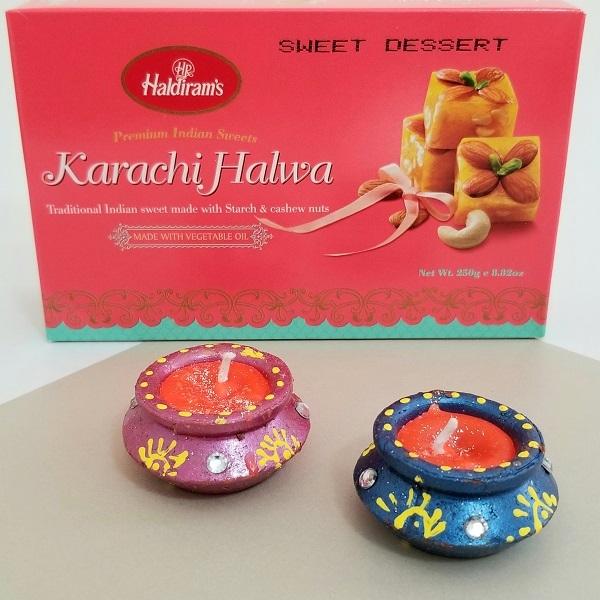 Karachi Halwa With Design Diya