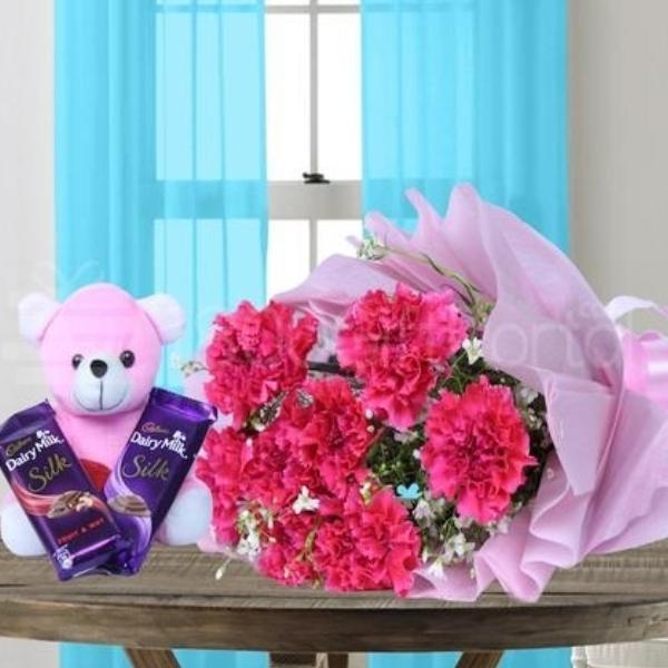 Red Carnation Teddy Love