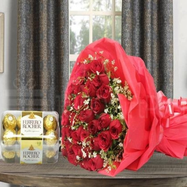 Red Roses with Rocher