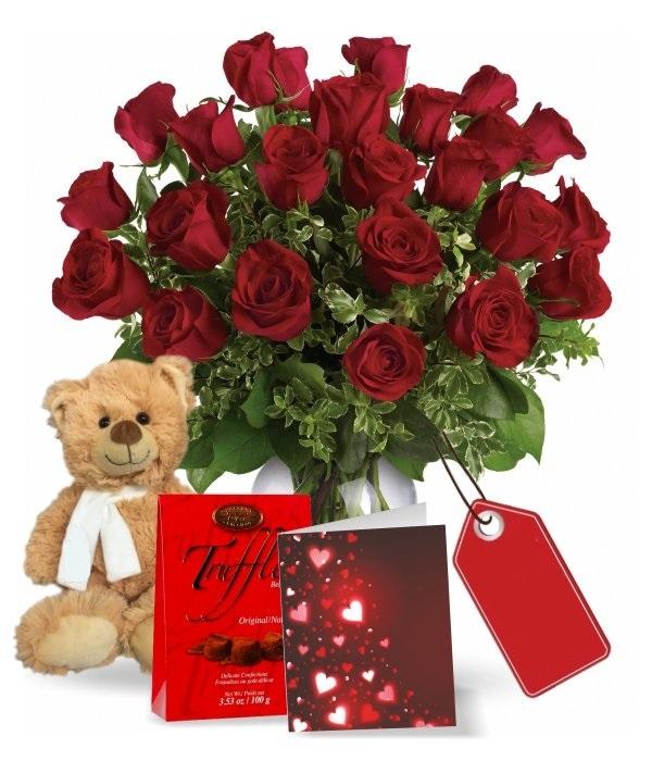 Two Dozen Long Stem Red Rose Combo