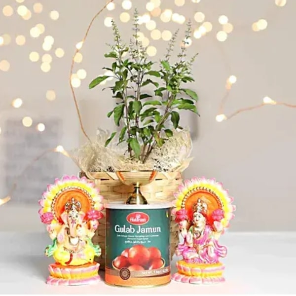 Diwali Gifts In Jute Wrapped Bag And Tulsi