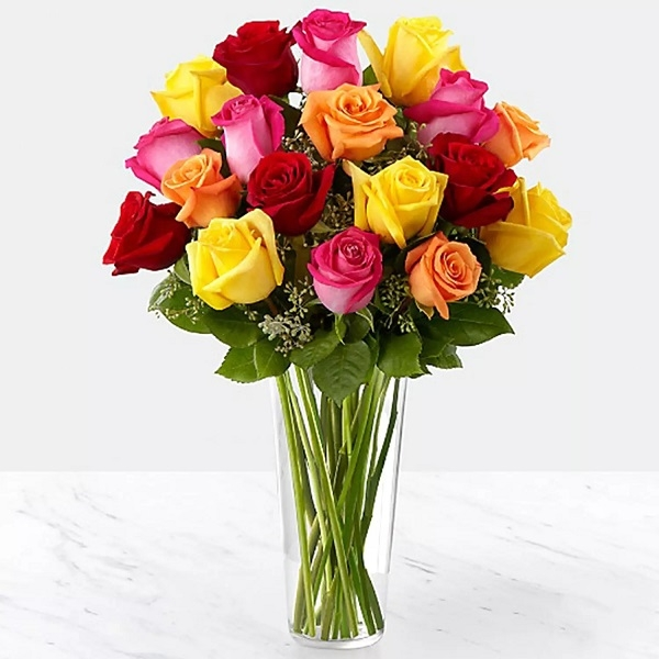 Assorted Roses in Vase