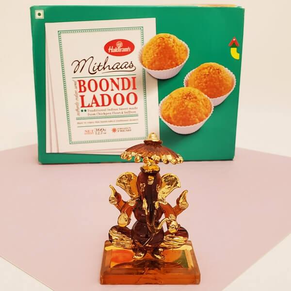 Umbrella Ganesha with Boondi Laddoo