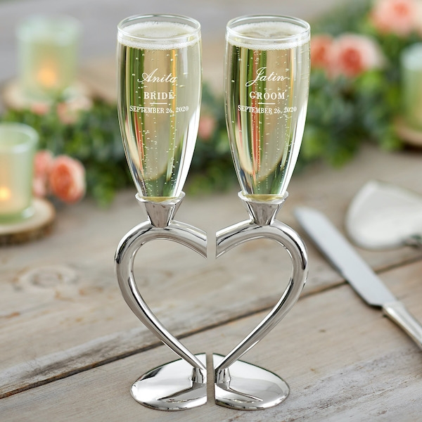 Connected Hearts Personalized Wedding Flute Set