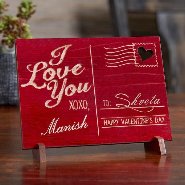 Sending Love Personalized Wood Postcard