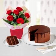 Chocolate cake and Roses