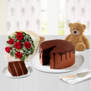 Cake, Teddy and Roses