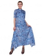 Blue Flare Long Dress