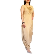 Gold Asymmetrical Style with dhoti