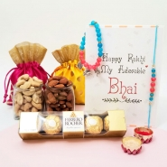 Charming Bhaiya Bhabhi Rakhi with Nuts & FR