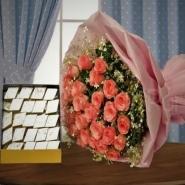 Kaju Katli and Pink Roses