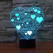 3D heart shapes night lights