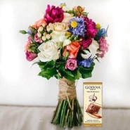 Mixed Flowers Bouquet and Chocolate Combo