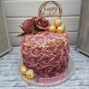 Rosy Birthday Chocolate Cake