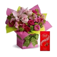 Mixed Flowers Arrangement and Lindt Chocolate Combo
