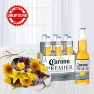 Mixed Flowers and Beer