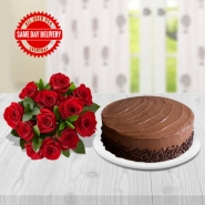 Cake & Red Roses
