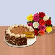 Tiramisu Cake with Bouquet