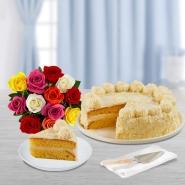 Vanilla Cake with Bouquet