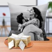 Sweet Personalized Cushion with Kaju Katli
