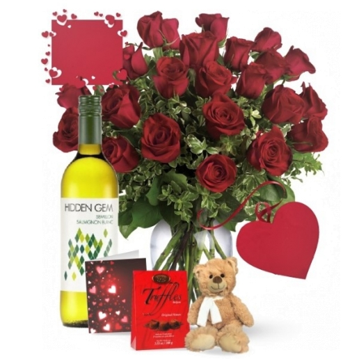 24 Red Roses and White Wine Combo