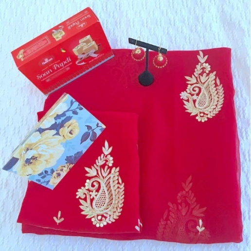 Dark Red with Chiffon Saree Gift Set