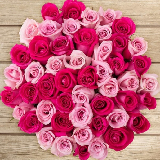 50 Assorted Pink Roses