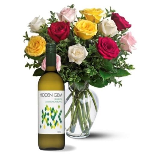Dozen Mixed Roses & Sauvignon Blanc