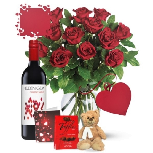 Dozen Red Roses and Red Wine Combo