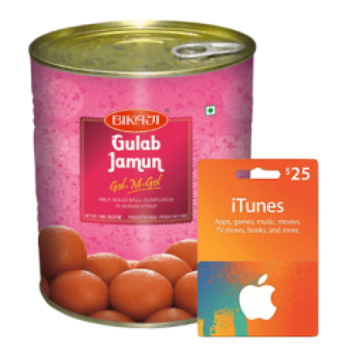 $25iTunes + 1KgGulabjamun