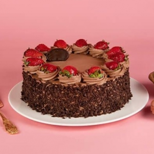 Eggless Double Choc Strawberry Cake