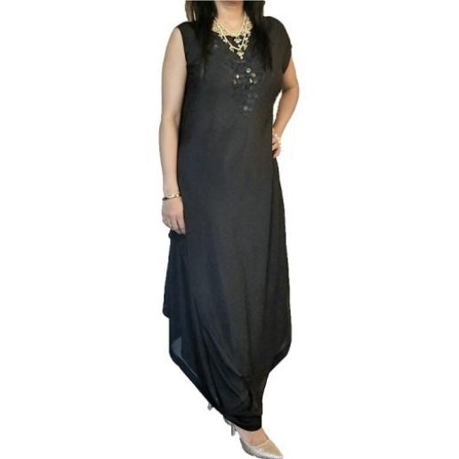 Black Asymmetrical Style with dhoti