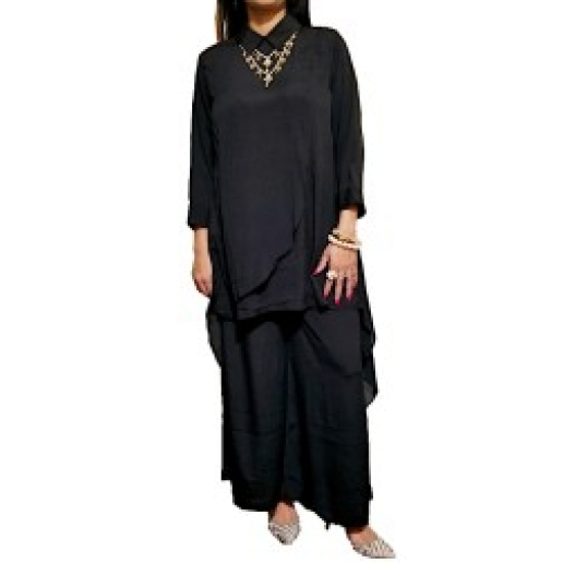 Black Low High Tunic with Palazzo