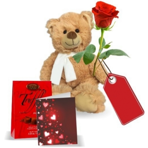 Rose, Truffle, Card with Teddy