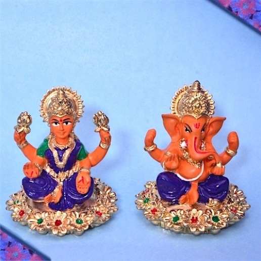 Golden Siver Plated Laxmi Ganesh
