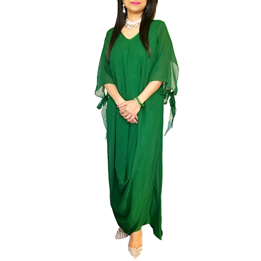 Green Georgette Asymmetrical Dress