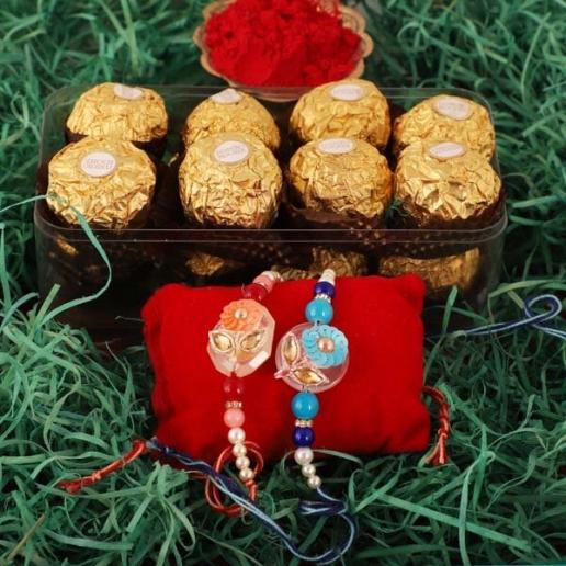 Sequins Rakhi Pair & Ferrero Rocher