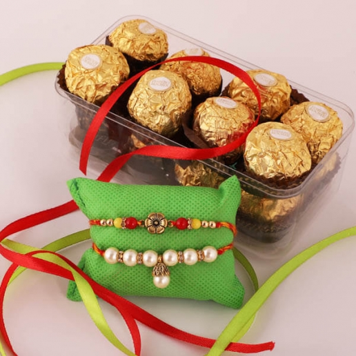 Pearl & Floral Rakhis with Ferrero Rocher