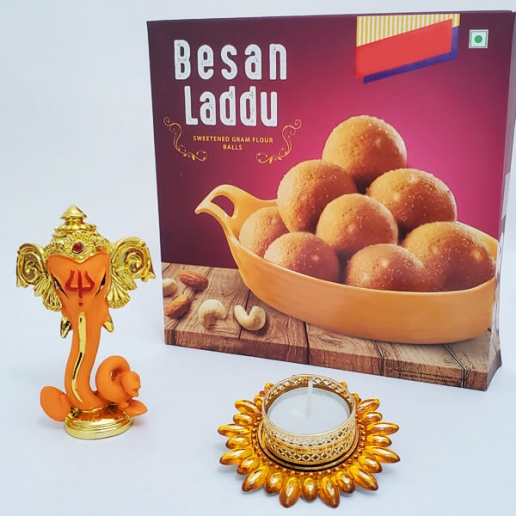 Ganesha with Besan Laddo and Light