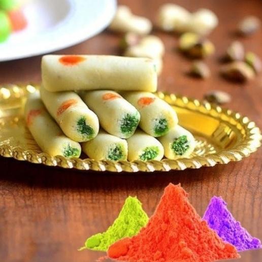 Kaju roll with Holi Colors