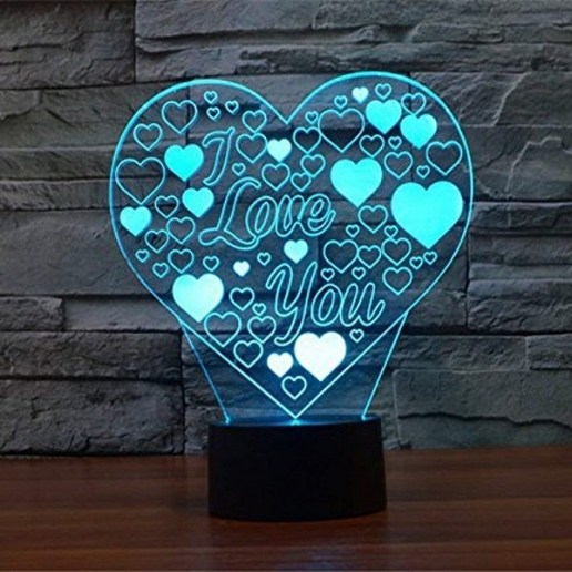3D heart shapes night lights