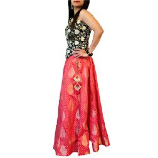 Orange Red Brocade Skirt